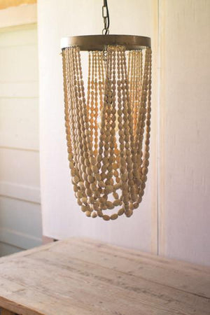 Kalalou Draping Wooden Bead Chandelier