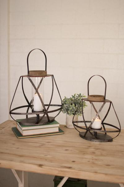 Kalalou Set of Two Metal Straps And Glass Lanterns