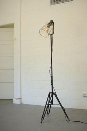 Kalalou Floor Lamp With Glass Shade And Metal Stand
