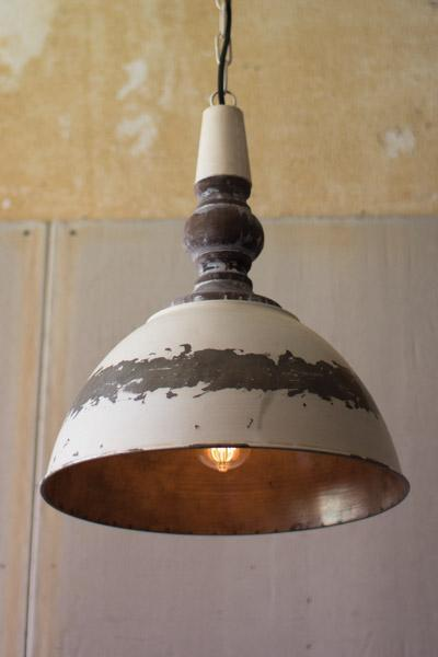 Kalalou Antique Buttermilk Metal Pendant Light