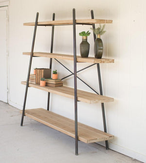 Kalalou Four Tiered Wood And Metal Display Shelf
