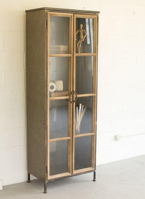 Kalalou Wood And Metal Cabinet With Glass Doors