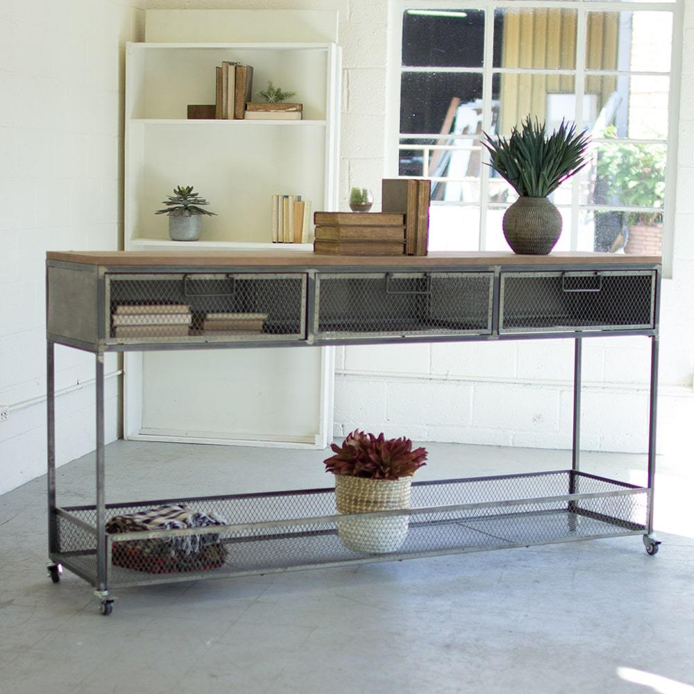 Kalalou Rolling Metal Console W/ Wire Mesh Drawers & Wood Top