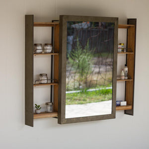 Kalalou Shelf With Rolling Mirror Door