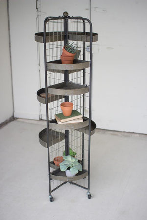 Kalalou Four Sided Display With Casters