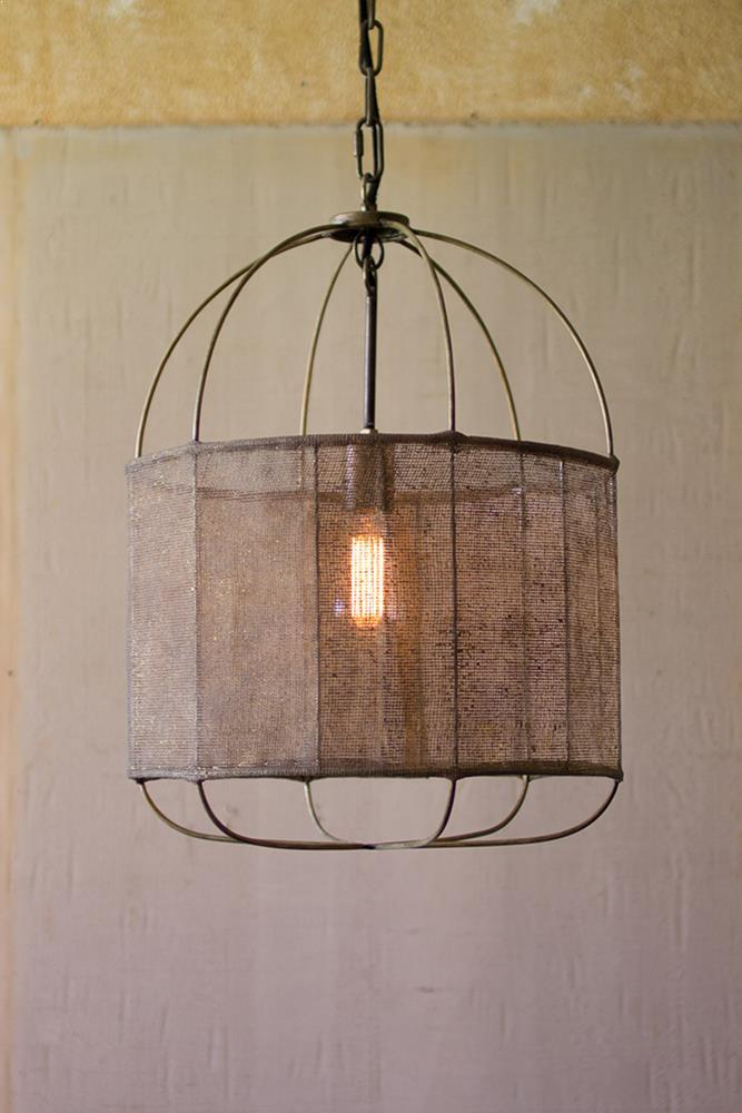 Kalalou Drum Pendant Light With Fabric Shade