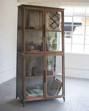 Kalalou Metal & Wood Slanted Display Cabinet W/ Glass Doors