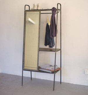 Kalalou Slanted Metal Storage With Mirror