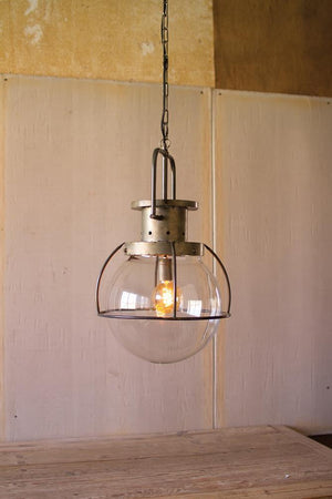 Kalalou Glass Globe Pendant Light
