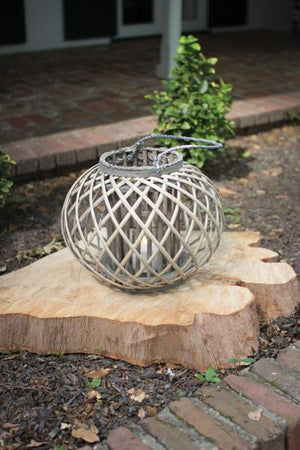 Kalalou Low Round Grey Willow Lantern With Glass