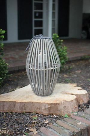 Kalalou Ribbed Grey Willow Lantern With Glass