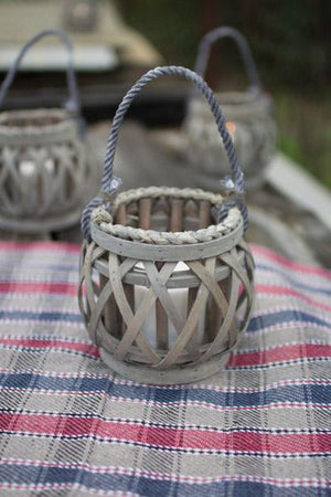 Kalalou Grey Willow Votive Lantern With Glass - Set of 4