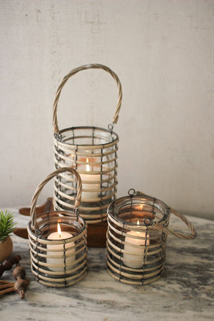 Kalalou Set Of 3 Grey Willow Lanterns With Glass