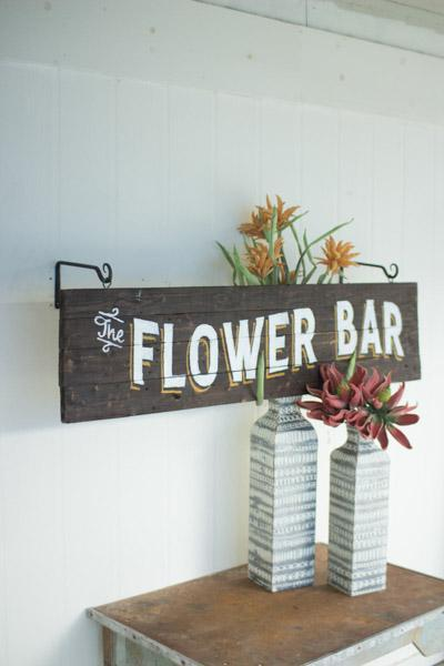 Kalalou Wooden Flower Bar Sign