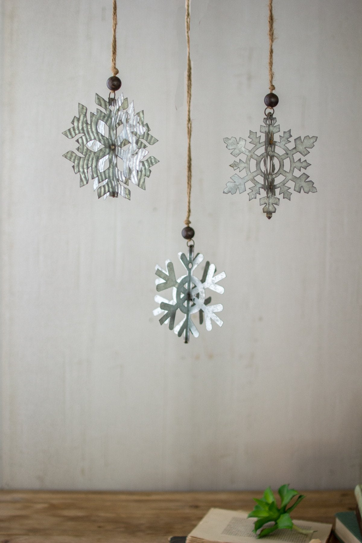 Kalalou Galvanized Snowflake Ornaments - Set Of 3