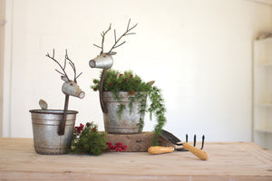 Kalalou Set Of 2 Metal Deer Planters