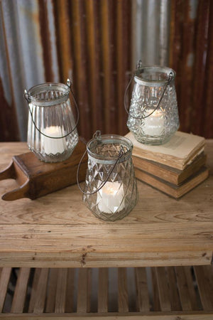 Kalalou Glass Lanterns With Wire Handles - One Each Design - Set Of 3