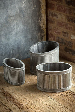 Vagabond Vintage Metal Ribbed Oval Dolly Planters - Set of 3