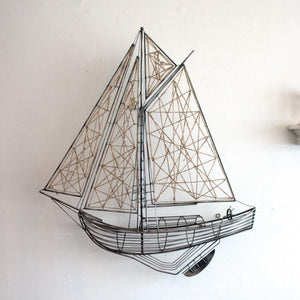 Kalalou Woven Metal And Jute Sailboat Sculpture