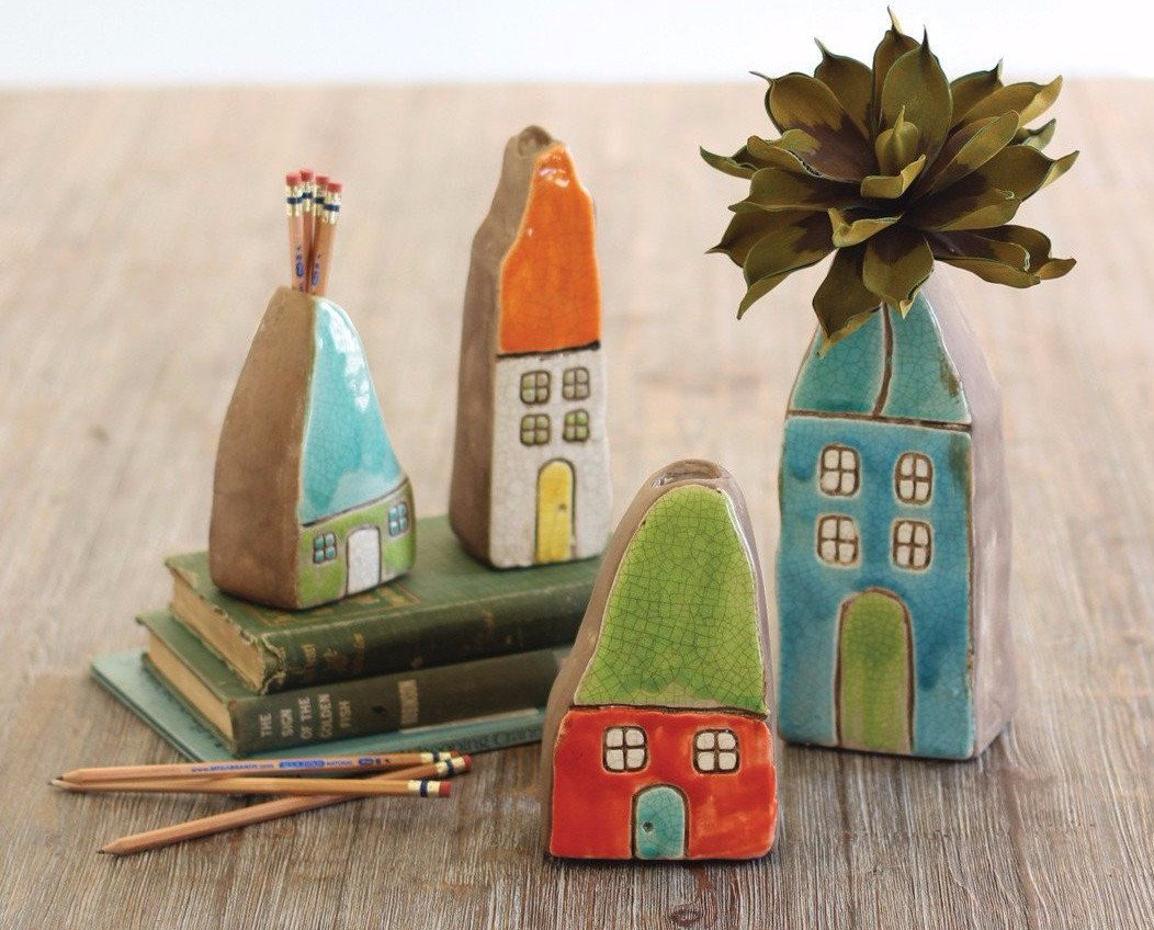 Kalalou Colorful Ceramic House Bud Vases - Set Of 4
