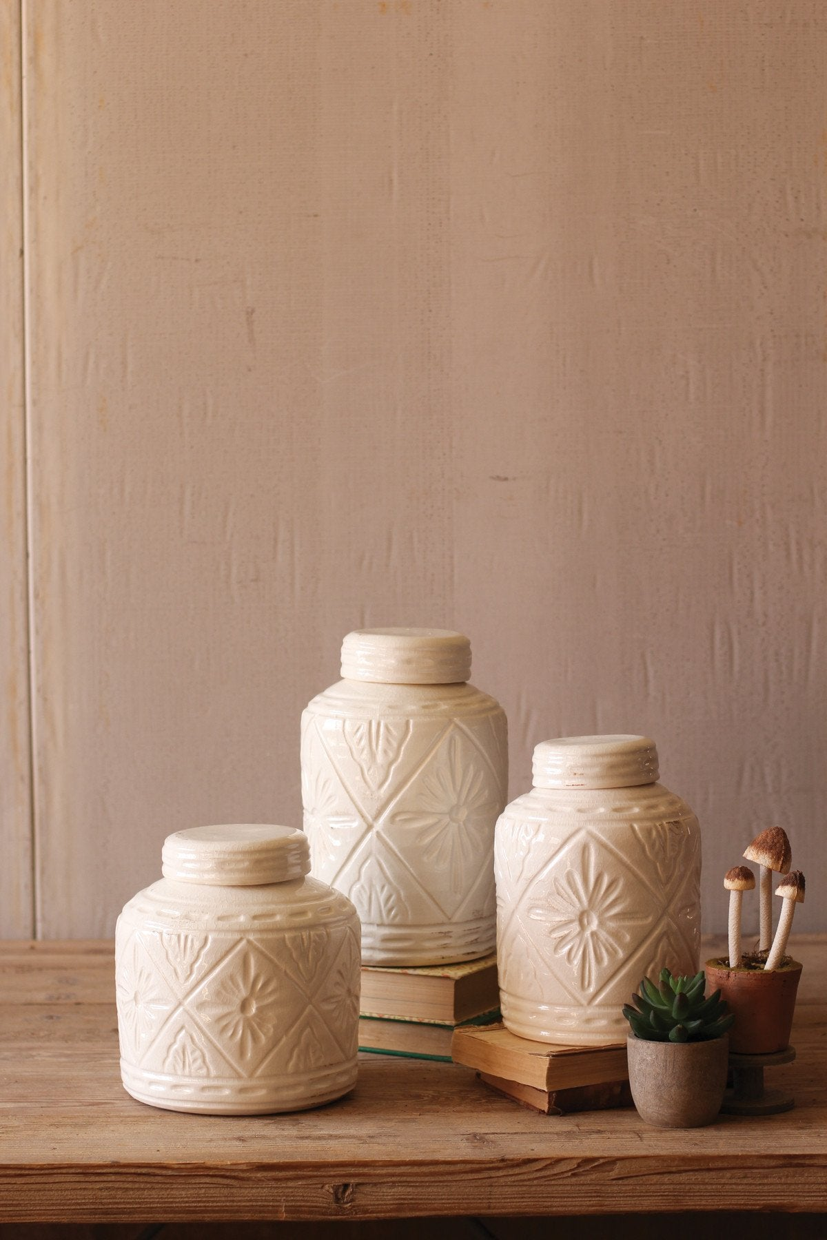 Kalalou Ceramic Canisters With Geometric Pattern - Set Of 3