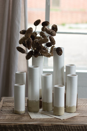 Kalalou White Ceramic Cylinder Bud Vases - Set Of 9