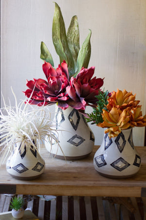 Ceramic Rustic Diamond Pattern Vases - Set Of 3