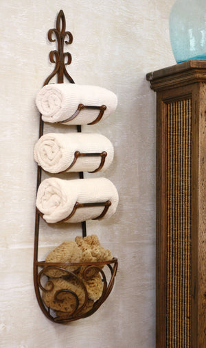 Kalalou Rustic Towel Rack With Bracket