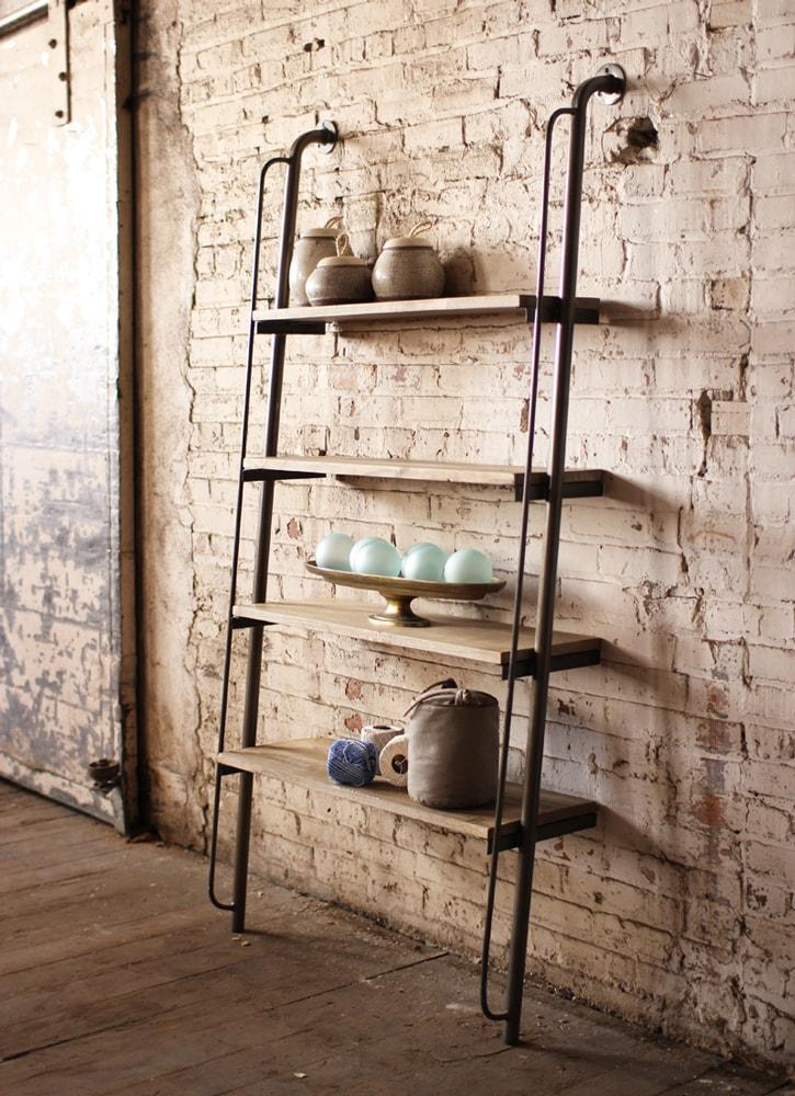 Kalalou Leaning Wood And Metal Wall Shelving Unit