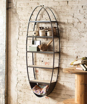 Kalalou Metal And Wood Oval Wall Shelf