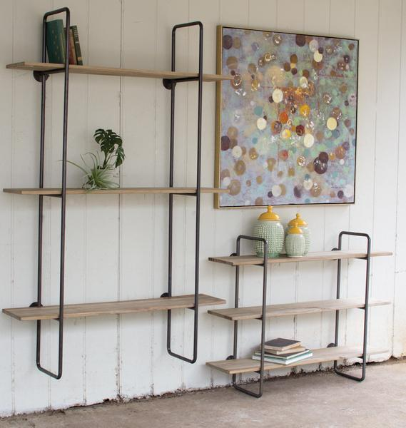 Kalalou 3 Tiered Metal Tube Frame Wall Shelf With Wooden Shelves