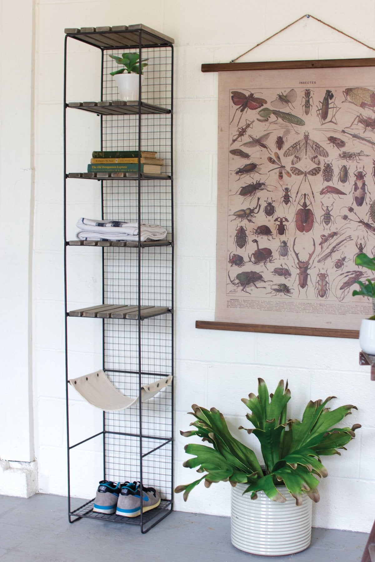 Kalalou Wood And Metal Storage Tower With Canvas Sling Shelf