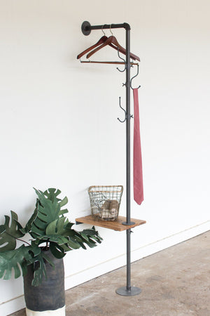 Kalalou Metal Coat Rack With Recycled Wooden Slat Side Table