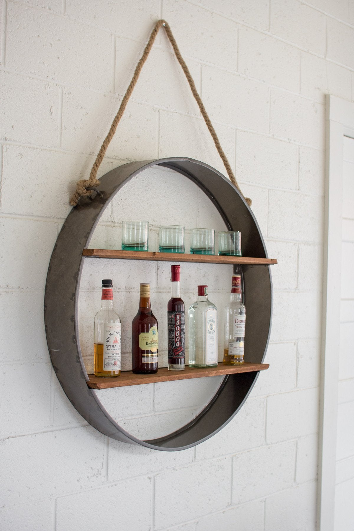 Kalalou Circle Iron And Wood Hanging Wall Shelf