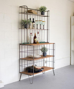 Kalalou Recycled Honey Wood And Raw Metal Hutch