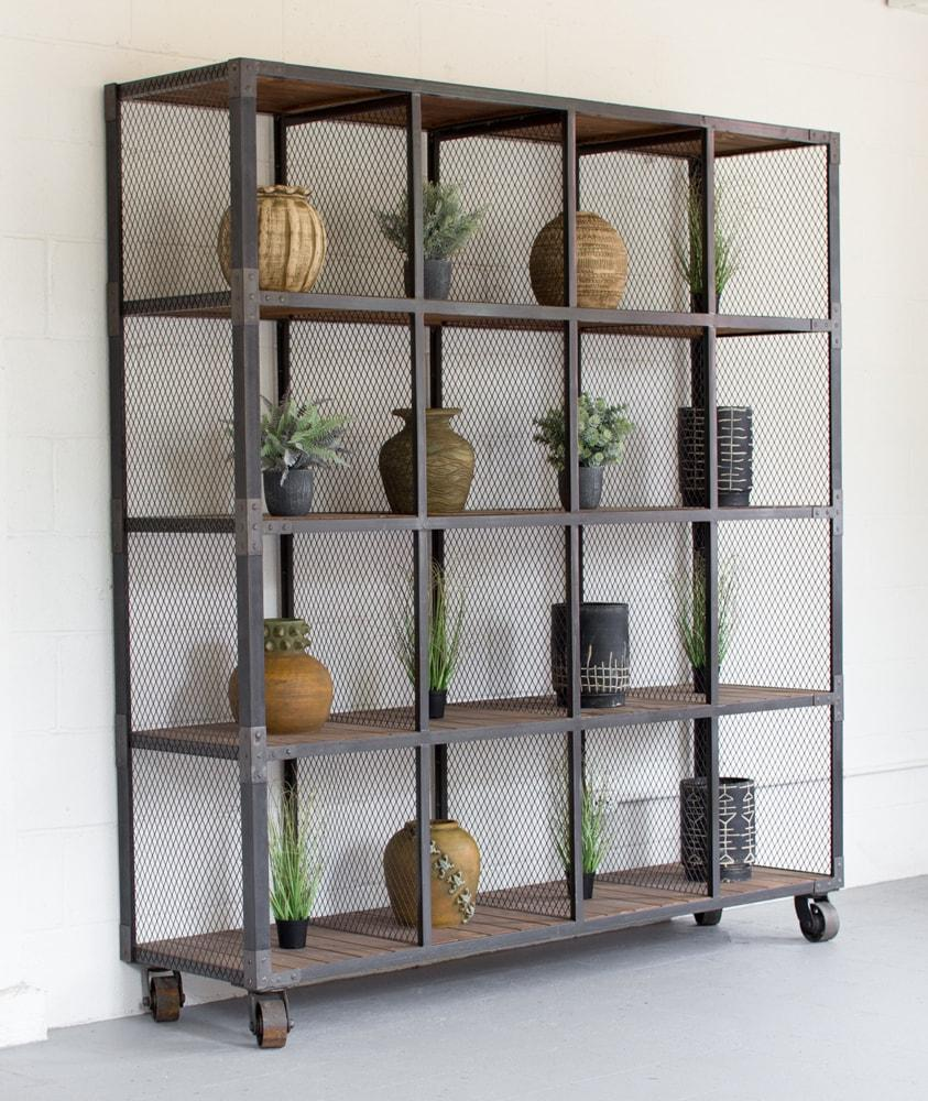 Kalalou Raw Metal And Recycled Honey Wood 16 Cube Display Unit