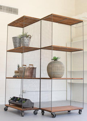 Kalalou 2 Hinged Raw Metal And Honey Wood Shelving Units On Casters