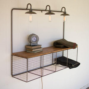 Kalalou Wire Cubby With Three Lights