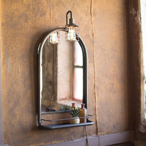 Kalalou Wall Mirror With Shelf And Light