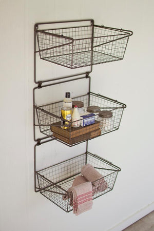 Kalalou Three Tiered Wall Storage Baskets