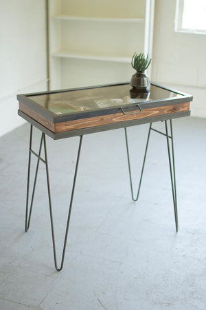 Kalalou Display Table With Hinged Glass Top