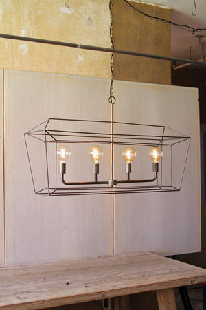 Kalalou Rectangle Iron Bar Pendant Light