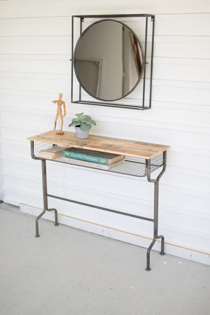 Kalalou Metal School Desk Console Table With Recycled Wood Top