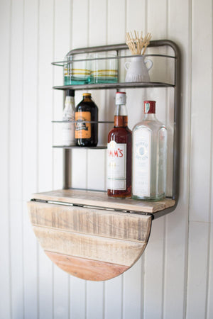 Kalalou Drop Leaf Metal And Recycled Wood Bar Shelf