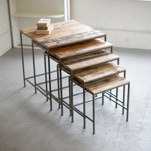 Kalalou Set Of 5 Recycled Wood And Iron Square Display Tables