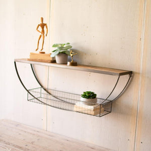 Kalalou Demi-Lune Shelf With Recycled Wood And Wire Basket