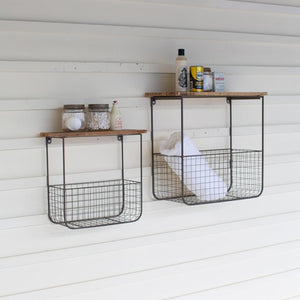 Kalalou Set Of 2 Wire Basket Shelves With Recycled Wood Tops