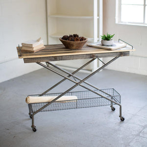 Kalalou Recycled Wood Console Table With Metal Base, Basket And Casters