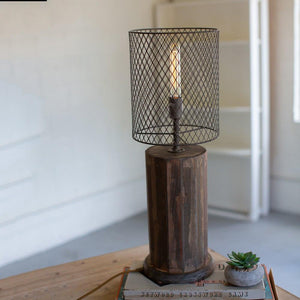 Kalalou Round Recycled Wooden Table Lamp With Wire Mesh Shade