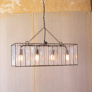 Kalalou Rectangle Pendant Light With Glass Chimes